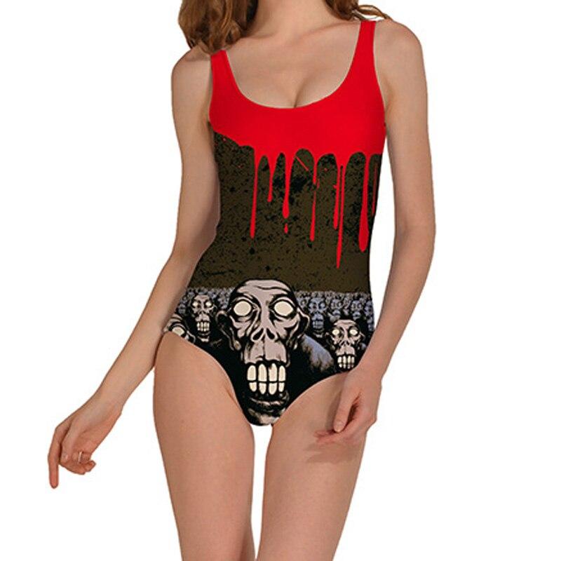 2017 women swimsuit 3d halloween graffiti printed one pieces swimsuits swimwear women bathing suit plus - Halloween Swimsuit