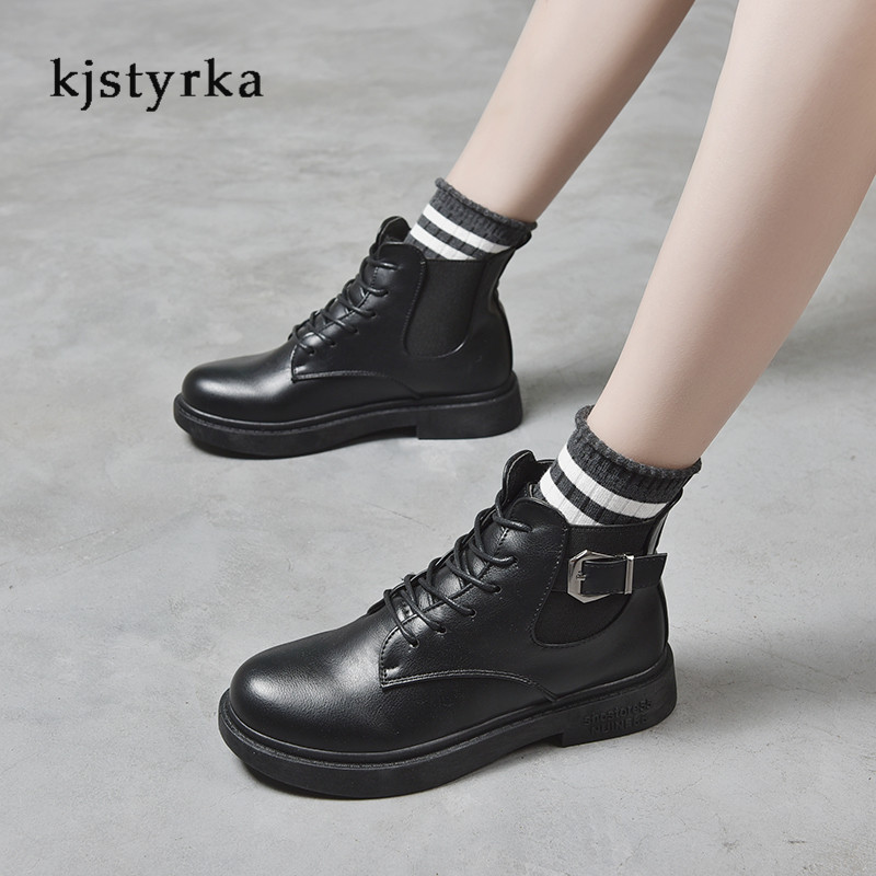 Kjstyrka round toe 2019 cotton fashion casual belt buckle patent leather martin boots female anti-slip ankle boots for women 5