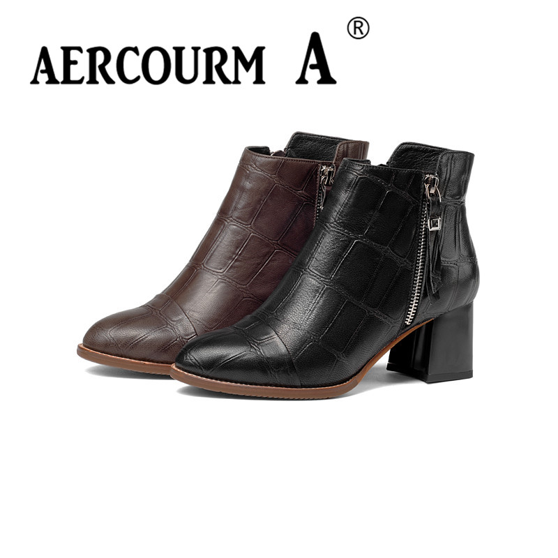 Aercourm A Women Winter Cowhide Ankle Boots Genuine Leather Boots Solid Pointed Toe Shoes Square High Heel Side Zipper Boots 952 in Ankle Boots from Shoes