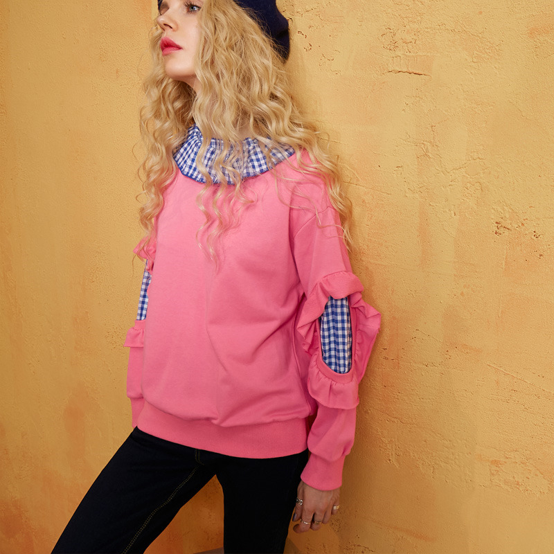 Femme Preppy Printemps Deux Sweat Col Patchwork Tops Nouveau Style À Couleur Mode Hit Treillis pink Jq59 Vintage Pièces Blue Faux Volants 85zqwxqZf