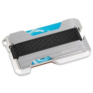 Image 2 - ZEEKER yeni tasarım alüminyum Metal RFID engelleme kredi kart tutucu hakiki deri Minimalist kart cüzdan erkekler için