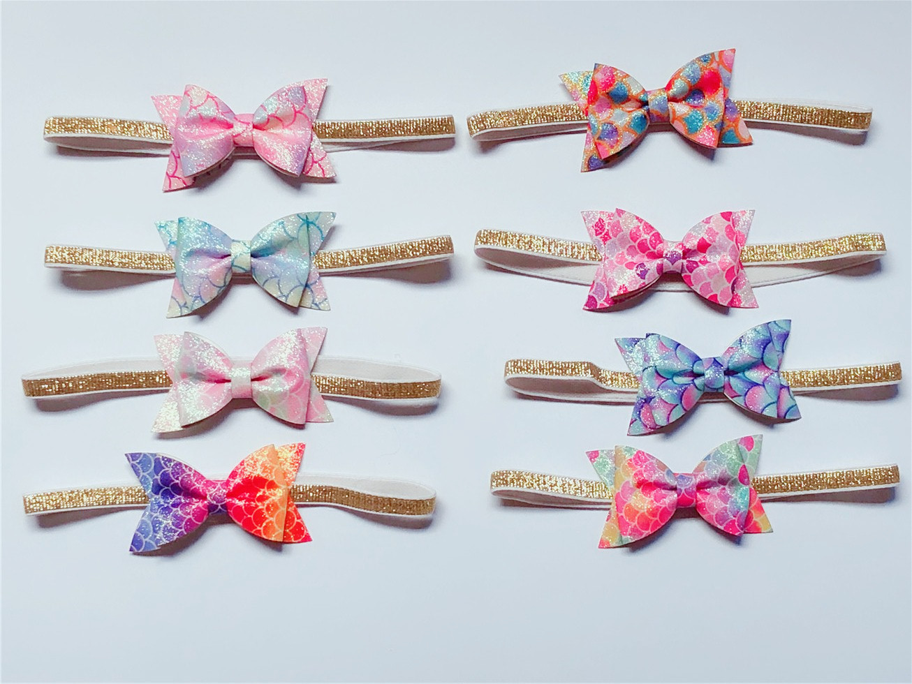 Boutique ins 24pcs Fashion Glitter Gradient Rainbow Bow Headbands Fairy Mermaid Print Bowknot Soft Hairbands Princess