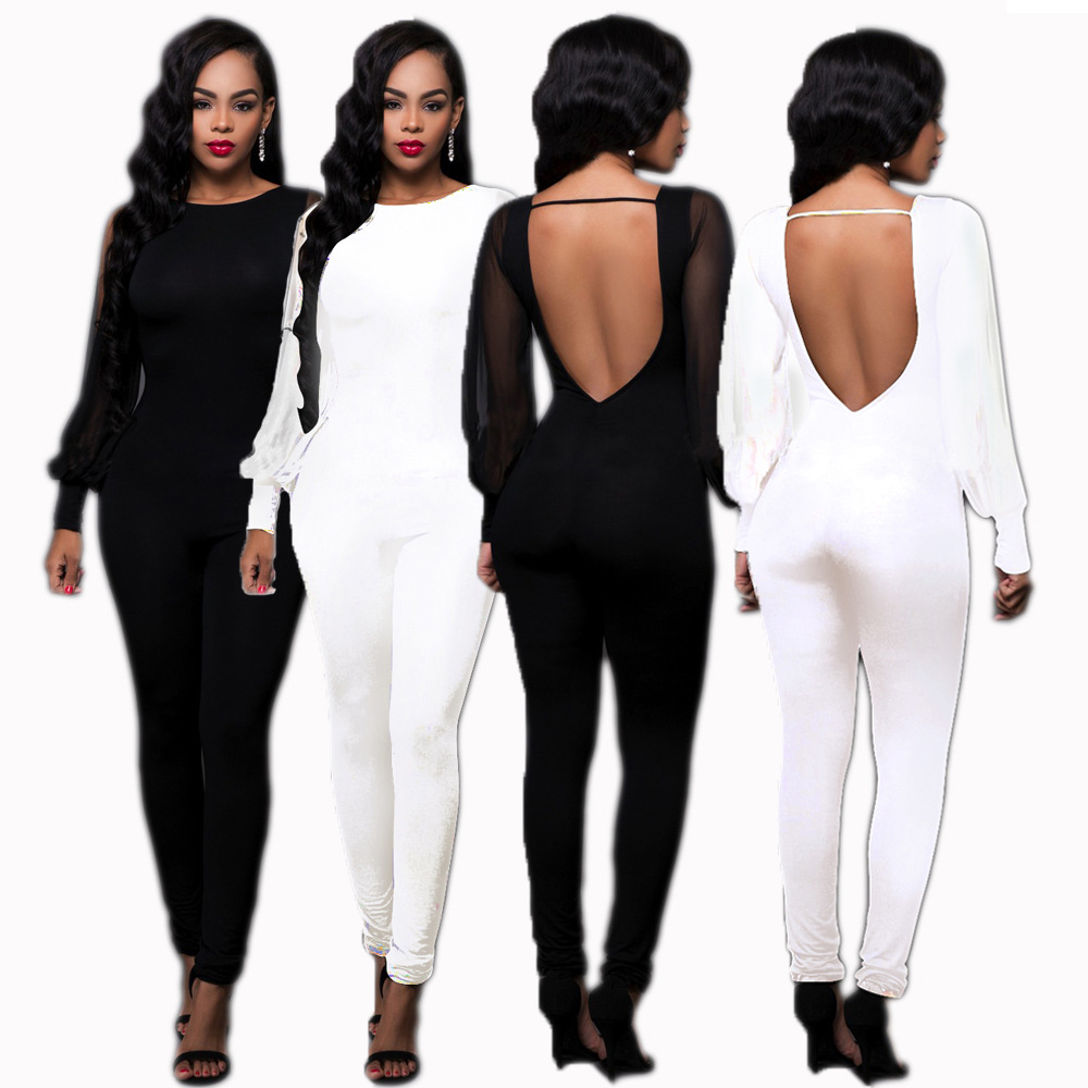 Long-Sleeved Solid Skinny Bodysuit Mesh Long Sleeve Splice jumpsuits Black Friday 2018 Woman Onesie Body Encaje Mujer Macacao