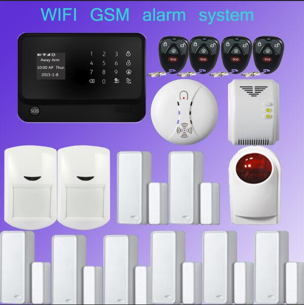 wifi alarm GSM GPRS Home Security Alarm System  +PIR Sensor+Door Sensor +Wireless outdoor flash siren Detector Sensor for Home yobang security wifi gsm wireless pir home security sms alarm system glass break sensor smoke detector for home protection