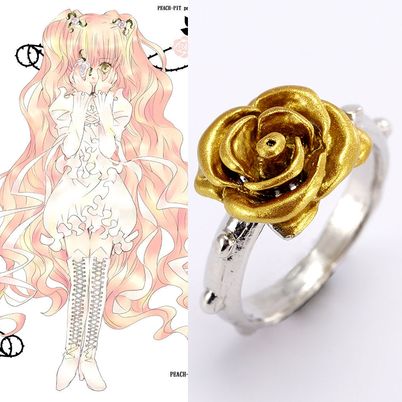 Hot Japanese Anime Roses Maiden Golden Rose Ring For Roses Maiden Cosplay  Accessories For Halloween Party Cosplay