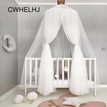 Crown Hanging Kids Bedding Round Dome Bed Canopy Mantle Tent Bed Hung Dome Net Yarn Bedcover Curtain Baby Bedroom Decoration недорого
