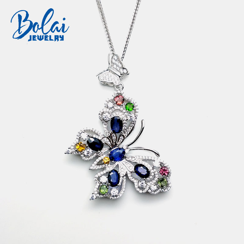 Bolaijewelry,Natural diffusion sapphire with fancy color tourmaline butterfly pendant necklace 925 sterling silver fine jewelry