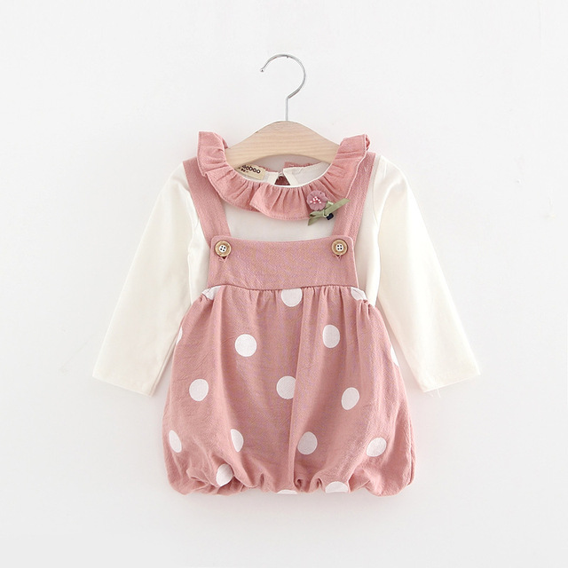 2017 New Baby girl clothes spring girls dress sets cartoon  T-shirt + 2 color suspenders bib dress