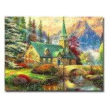 5D алмаз живопись пейзаж церкви квадратный алмаз вышивка стразами мозаика ткани, чтобы Лоскутная шерсть Кристалл Дома Декоративные
