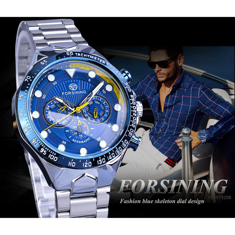 Forsining Brand 2019 Men Automatic Blue Sports Watch Stainless Steel Band Waterproof Clock Mechanical Business Relogio Masculino in Mechanical Watches from Watches