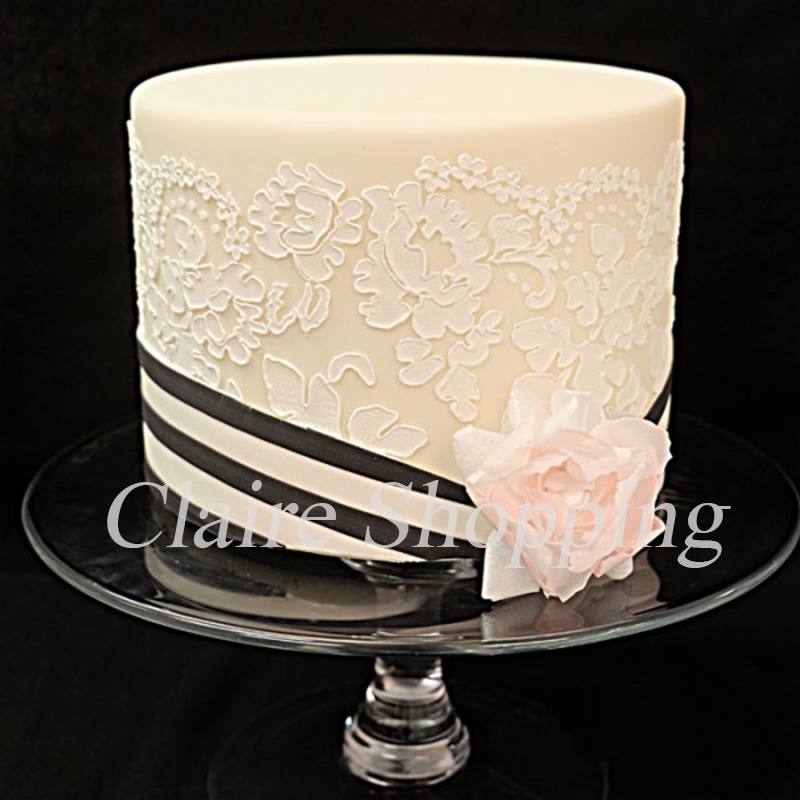 Wedding Cake Decoration Molds : Chantilly lace leaf cake lace stencil cake decorating ...