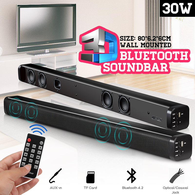 TV Bluetooth Speaker Soundbar N-S09 4 Drivers Home Theater Stereo Heavy Bass TF Card Wall-mounted Speaker Smart Home Soundbar