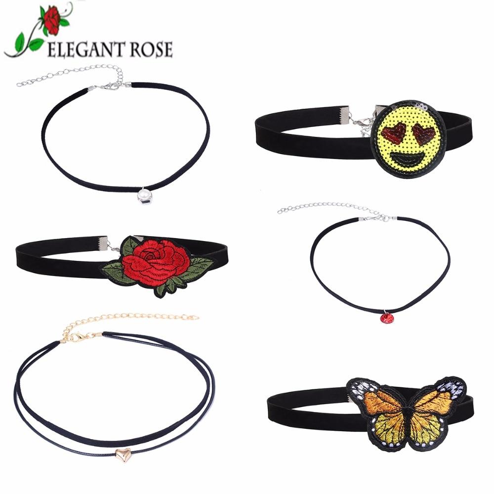 ElegantRose Богемия 6 шт./компл. черные бархатные вышитые колье Цепочки и ожерелья красная роза бисера бабочка подвеска для Wonder Для женщин YP5