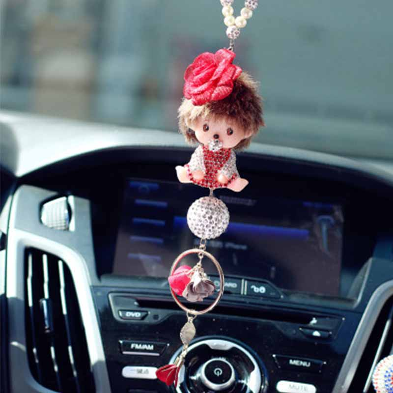 Pendant car jewelry cute doll creative fashion crystal diamond rearview mirror decoration gifts pendant accessories
