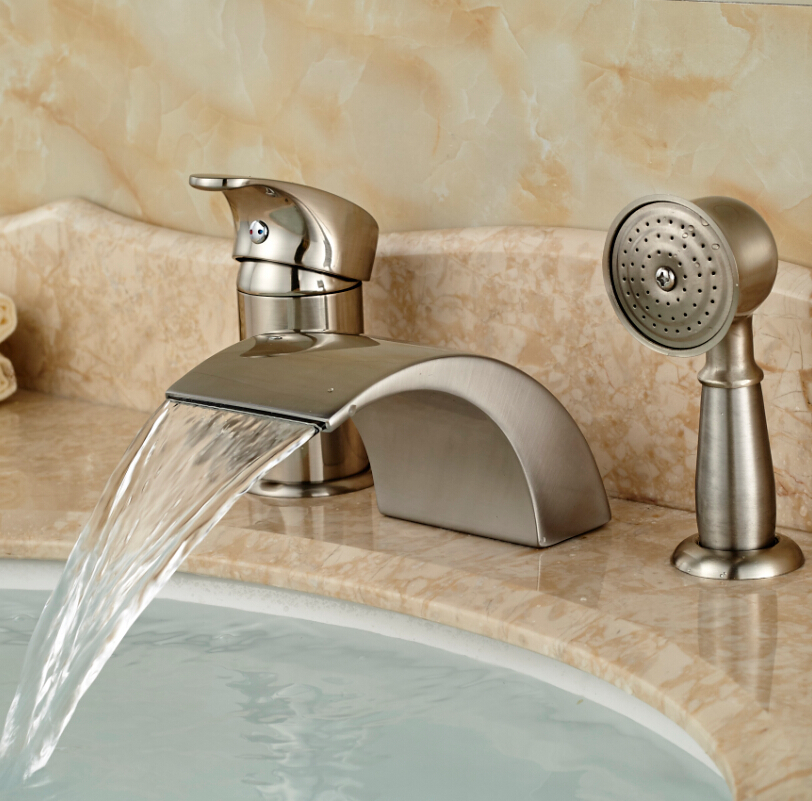 Brushed Nickel Waterfall Roman Bathtub Mixer Faucet Set with Hand Held Shower Deck Mount 3pcs