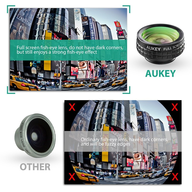 0dff624f4ff523 ... AUKEY 180 Degree Fisheye Lens + Wide Angle + Macro Lens 3in 1 Clip-on  ...