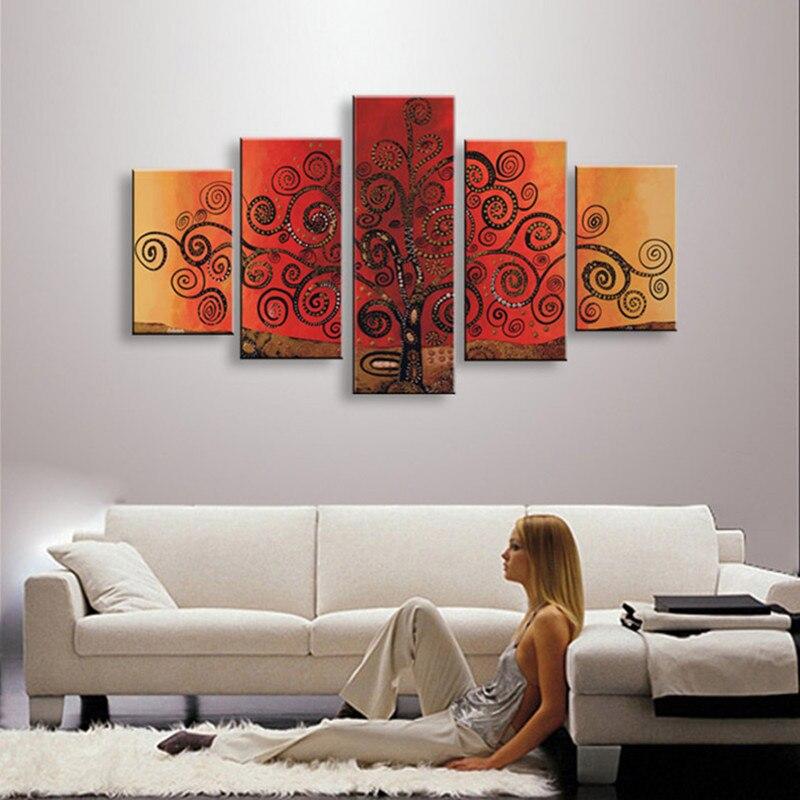 Handgemalte 5 Panel Bilder Baum Ölgemälde Auf Leinwand Abstrakt  Acrylgemälde Sets Für Wohnzimmer Wohnkultur Wand Kunst In Handgemalte 5  Panel Bilder Baum ...