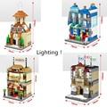 4 Estilos/Set Luz LED Bloques Bulding Legoes Juguetes City Series Modelo de Los Edificios de La Calle Iglesia Embajada Tienda de Comestibles de Juego casa
