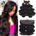 Cheap 8A Brazilian Virgin Hair 4 Bundles With 13*4 Body Wave Lace Front Closure Full Lace Frontal Closure With Bundles Free Part