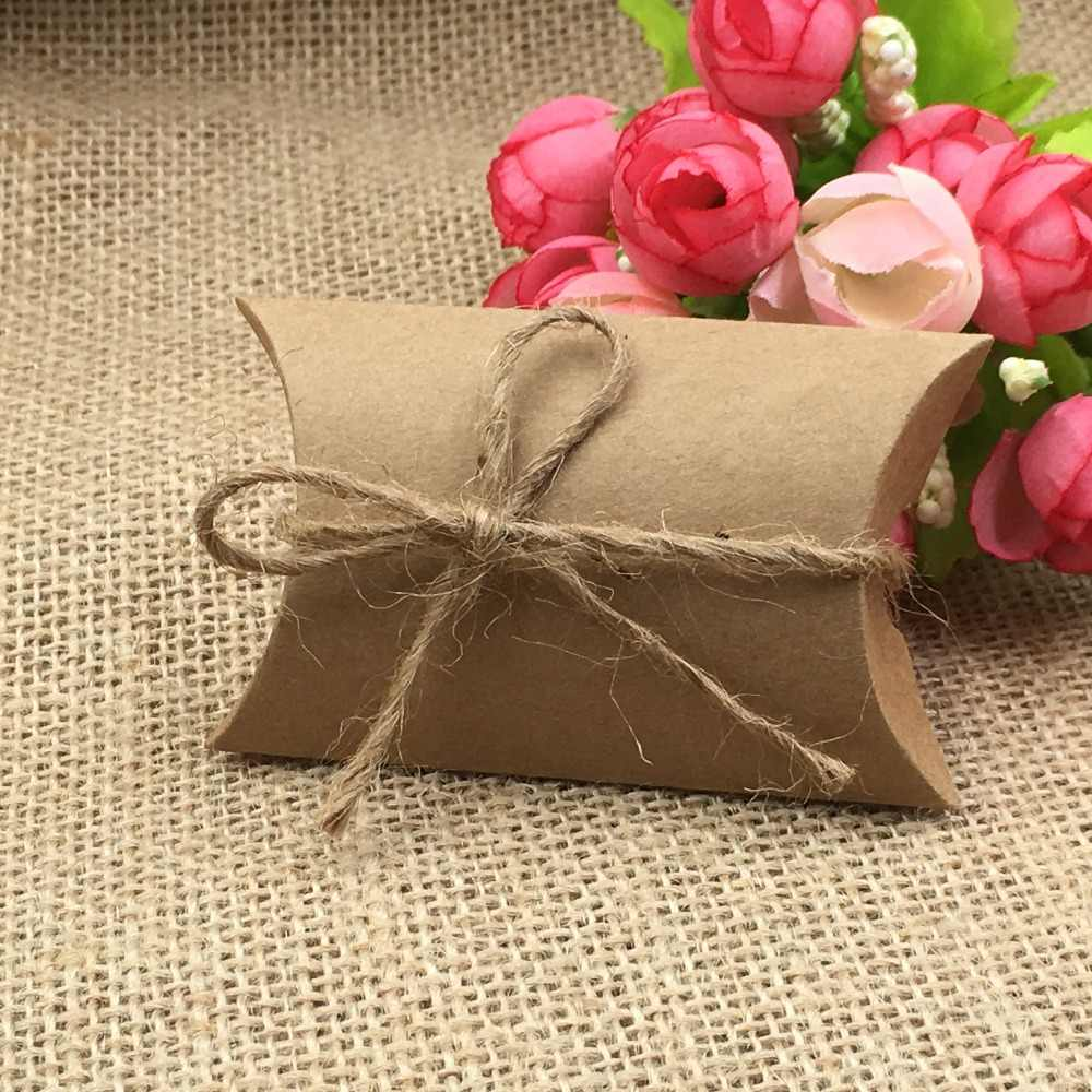 30Pcs/Lot Kraft Pillow Boxes With Free Strings DIY Gift Boxes Paper Present Box Accessory Packing Box Small Storage Boxes