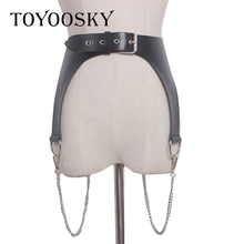 TOYOOSKY 2019 Harajuku Black Punk Women Belt For Double  Metal Chain PU Leather Sexy Waist seal for Jeans Party of High Quality