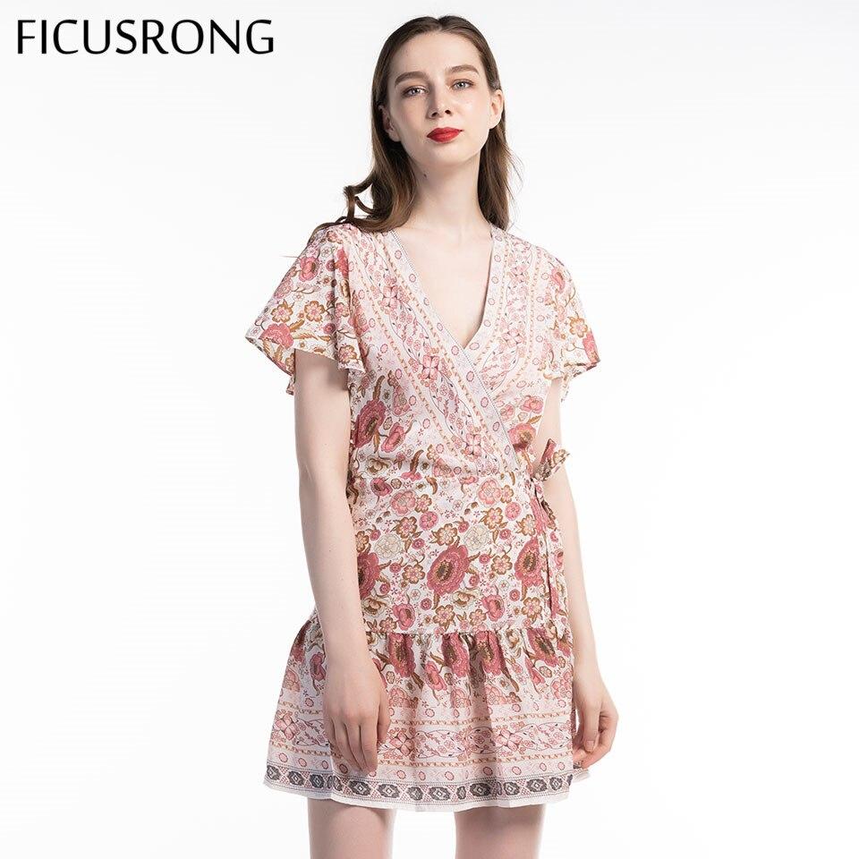 Sexy Boho Style Lacing Dress 2019 New Summer Print V Neck Women Fashion Mini Dress Short Sleeve Beach Dress FICUSRONG