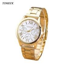 Hot Sale Women Watches Luxury Women Lady Roman Numerals Quartz Watch Gold Stainless Steel Wrist Watches Free Shipping,Jan 13*50