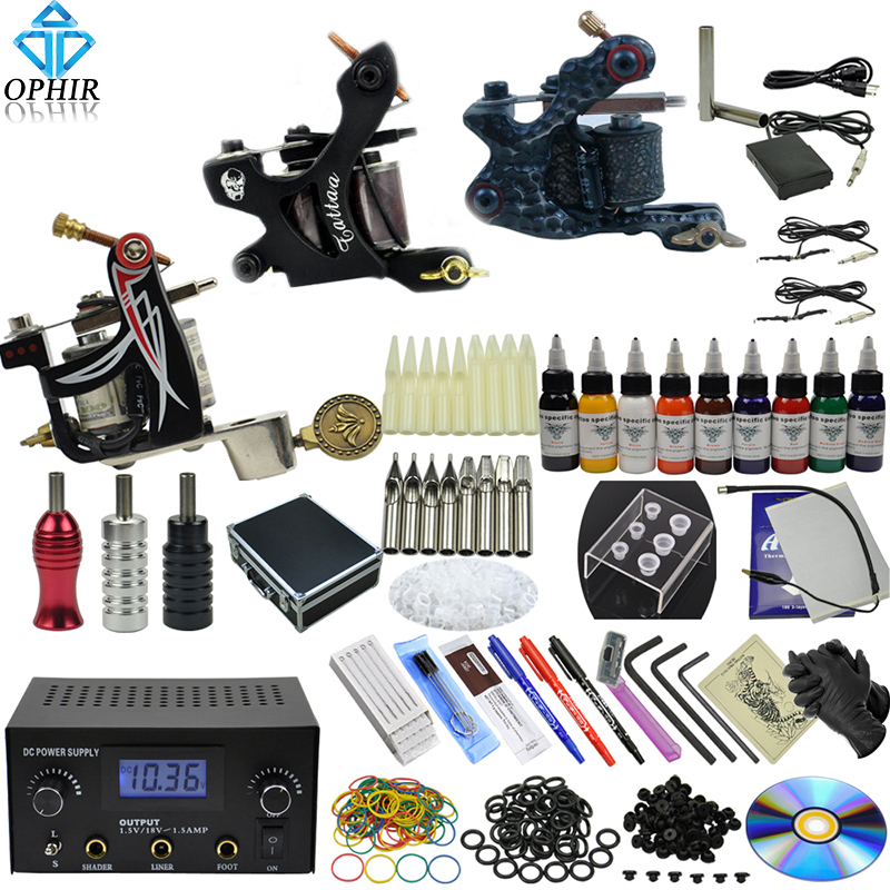 OPHIR Complete Tattoo Kit 2x Liner Tattoo Machine & 1x Liner Shader Tattoo Gun 9Color Inks 50pcs Needles Body Tattoo Art_TA086 4 pcs liner shader tattoo rotary motor gun machine kit set swashdrive