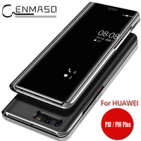 For HUAWEI P10 Lite Case HUAWEI Nova Lite Case Original Mirror Flip Cover Clear View Smart