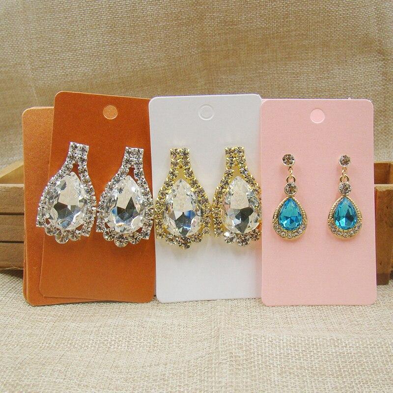 100pcs Per Lot Pink/white/orange Paper Retangular Shape Earrings Card Wholesale Printed Jewelry Custom Earring Display Card
