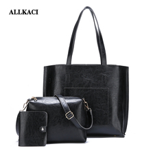 Women Composite Bags Set 3Pcs PU Leather Handbag Large Capacity Tote Bag Ladies Shoulder Messenger Bag+Purse sac main femme 48 3 sets handbag women composite bag female large capacity tote messenger bag fashion shoulder crossbody bag small purse card bags