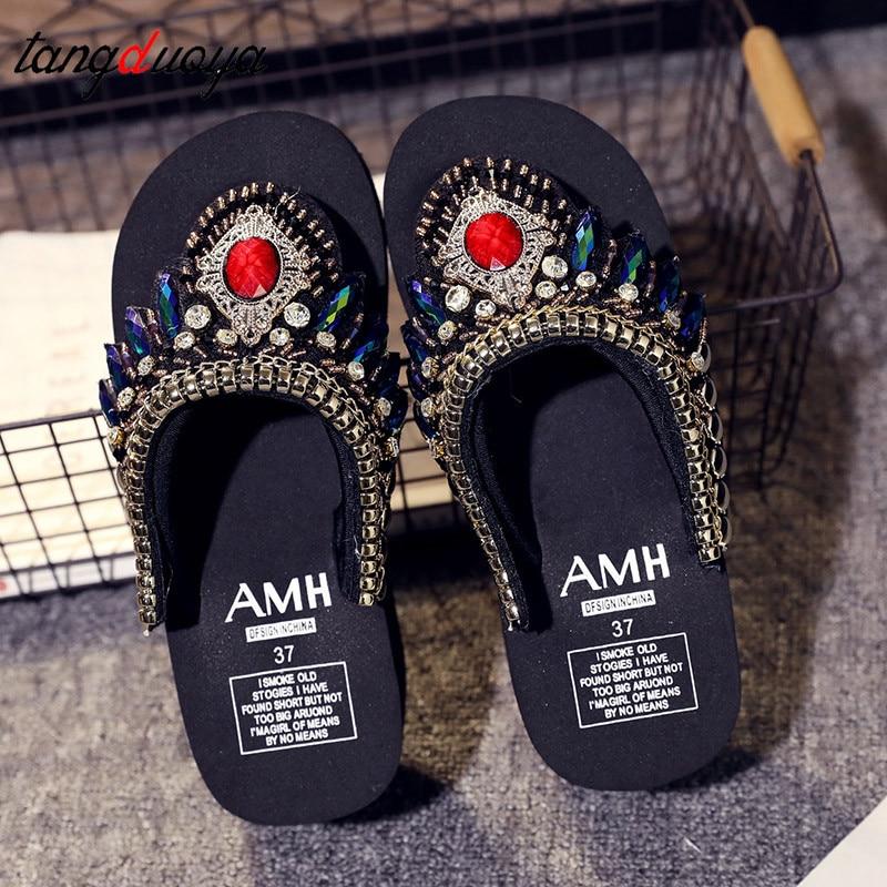 2019 outdoor slippers women rhinestone sandals casual s flop lippers flip women wedge slippers high platform flip flops Woman