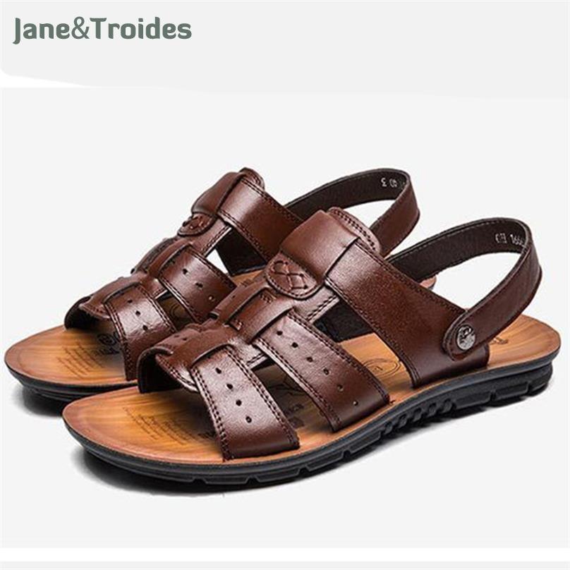 Men Sandals Genuine Split Leather Men Beach Sandals Brand Men Casual Shoes Flip Flops Sneakers Men Slippers Summer Shoes