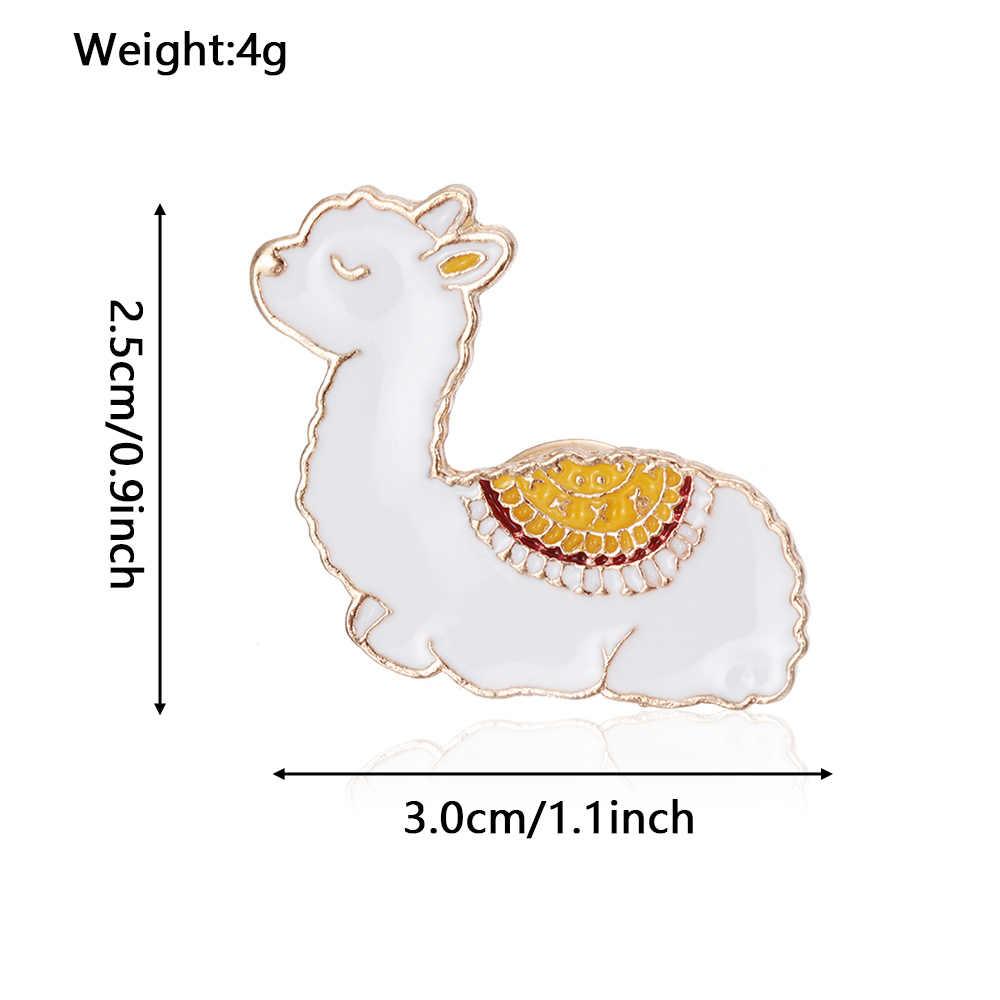 1 Pcs Alpaka Cute Domba Bayi Lama Glama Pin Kartun Lucu Hewan Kawaii Kerah Bros untuk Wanita Gadis Lencana jaket Mantel
