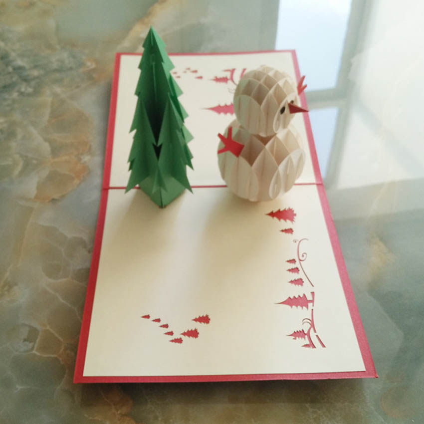 3D Pop Up Handmade Christmas Snow Man Happy New Year  Greeting Card бра violina 3232 1w lumion 1202716