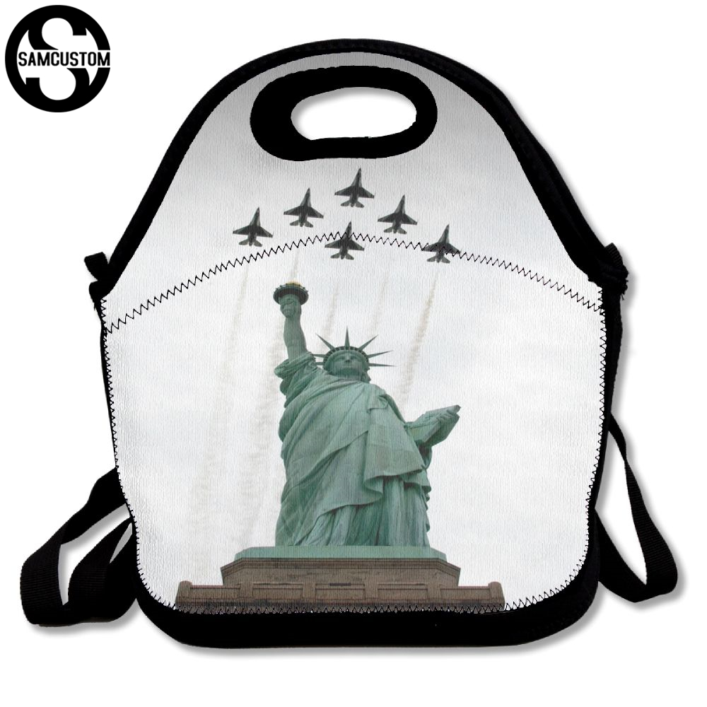 SAMCUSTOM Statue of Liberty and fighter Lunch Bags Insulated Waterproof Food Girl Packages men and women Kids Babys Boy Handbags