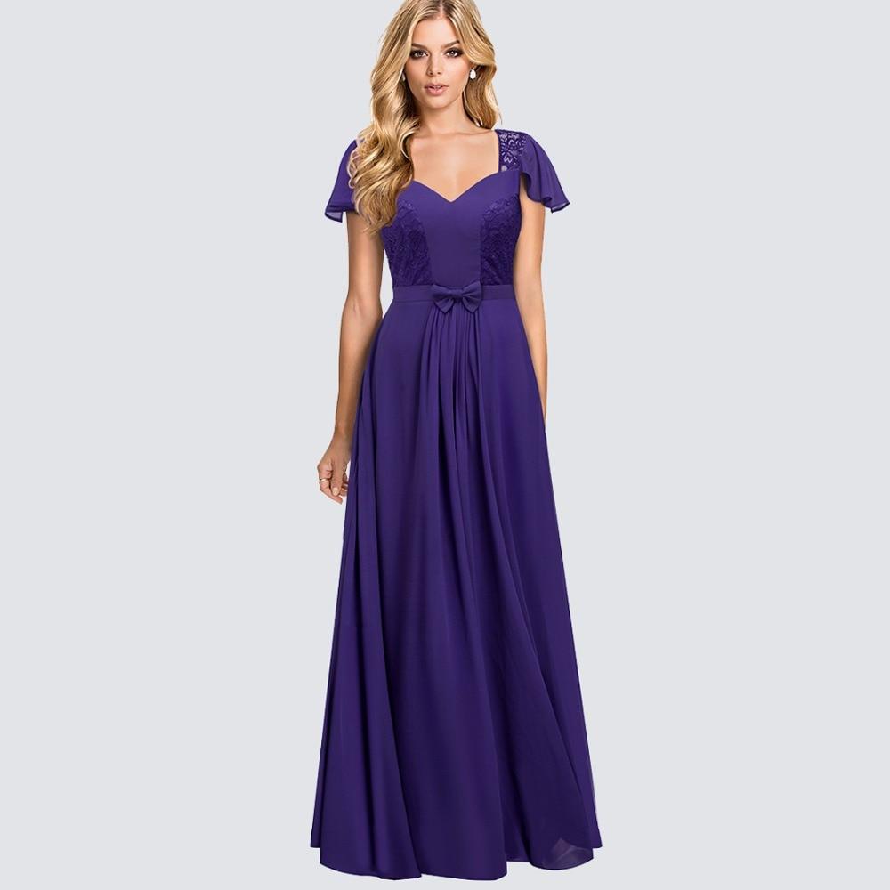 Evening Gown Long Robe Party Chiffon Elegant Floral Lace Decent ...