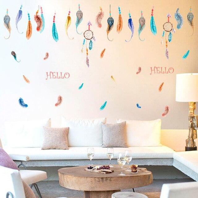 Grandi dimensioni poster Colore Dipinto Piuma wall sticker per ...