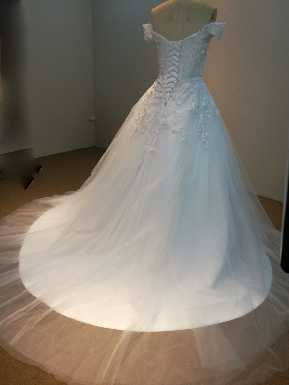 Lace Pearls Appliques Off The Shoulder Ball Gown Wedding Dress