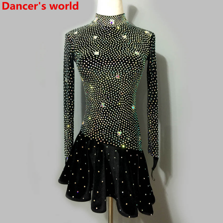 Latin Dance Dress Women Long Sleeves Back Opening Salsa Samba Tango Ballroom Competition Costume Lady Practise/Competition Dance