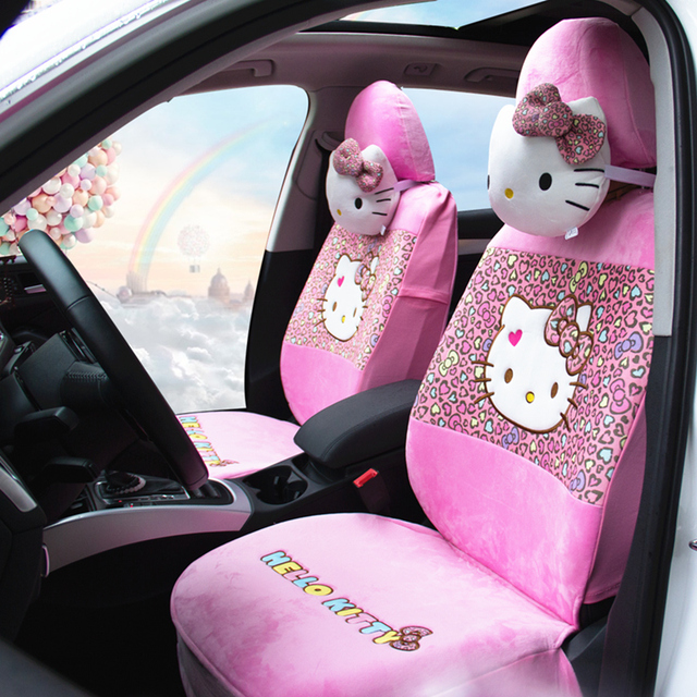 18pcs New Universal Hello Kitty Car Seat Covers Cushion Faux Fur Styling Interior Accessories