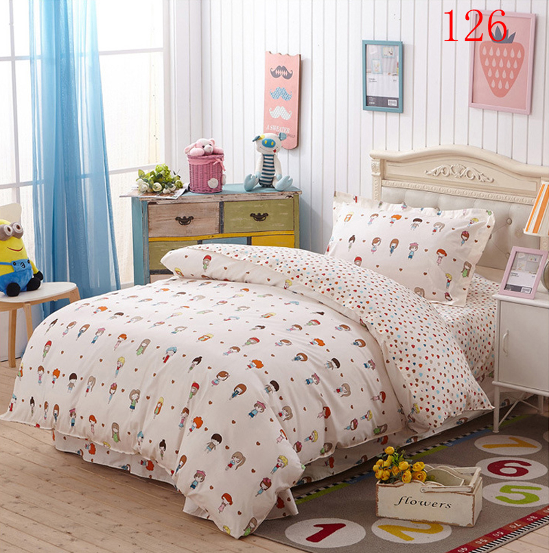 youth bedroom cotton 3pcs bedding set twin single bed duvet cover quilt cover flat bed sheets