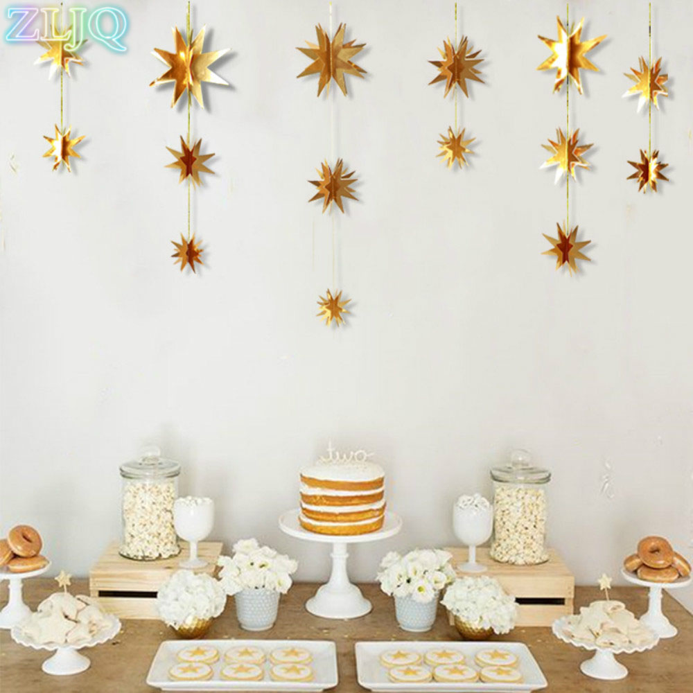 ZLJQ 6pcs/set 3D Mirror Star Christmas Ornaments Creative Gold/Silver Star Xmas Tree Decorations New Year Party Window Layout 7D ...