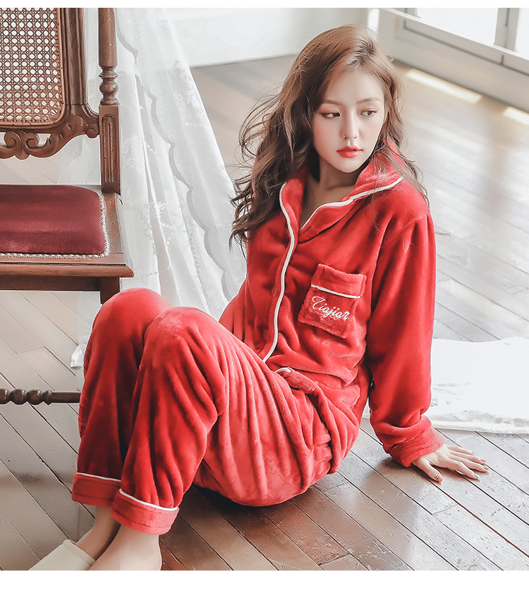 Plus Size 3XL 4XL 5XL Pajamas for women 2019 Winter Thicken Flannel pyjamas Long-sleeve lovely Sleepwear Coral Fleece Nightgowns 209