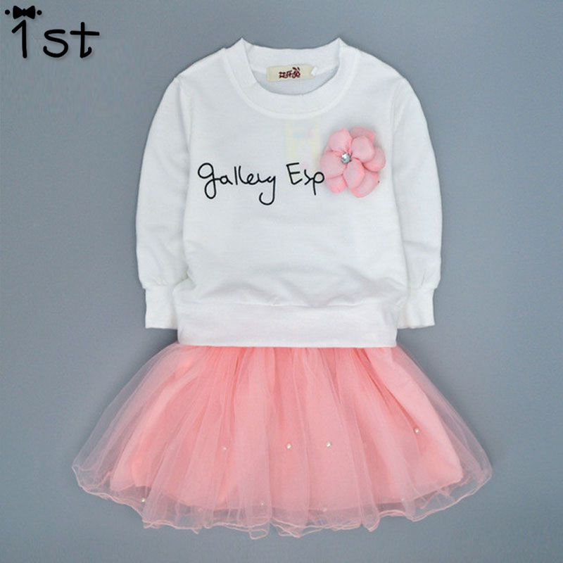 1st Lovely Girls White Tee Shirt and Pink Skirt With Rhinestone Clothes Set for Kids Girl Autmn Children Clothing Sets retail design children clothing set for kids girl dark blue cardigan t shirt pink skirt high quality 2014 new free shipping