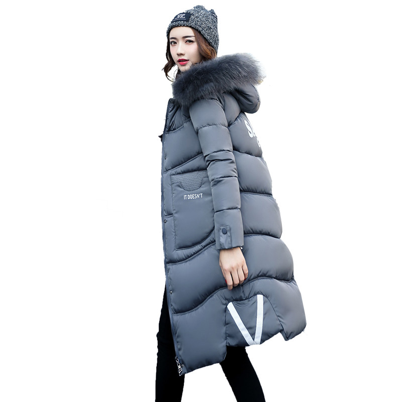 Hooded Fur Collar Winter Parka Women 2017 New Female Cotton-Padded Jacket Maxi Coats Jaqueta Feminina Inverno Long Jackets C3370 womens coats and jackets thick fur collar winter jacket women hooded cotton wadded jacket parka female outwear maxi coats c3708