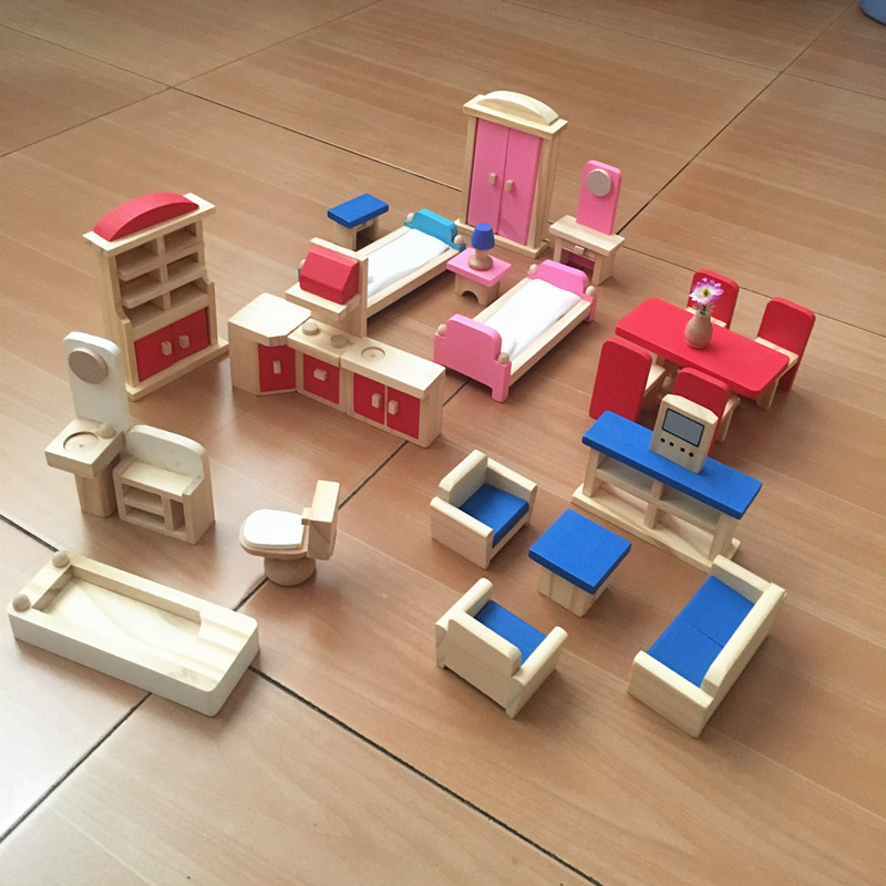 Girls Kids Childrens Wooden Nursery Bedroom Furniture Toy: Wooden Dollhouse Furniture Toys Sets For Doll House