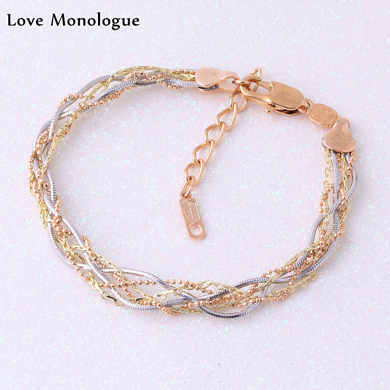 Love Monologue Silver Color Yellow Gold Color Metal Weave Bracelet Party Jewelry X0557 Length 18+45 CM