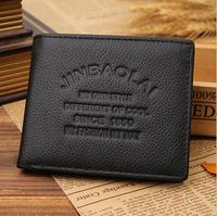 2015 Hot Sale Fashion New Quality Real Leather Men S Wallets Black 3 Fold Card Header