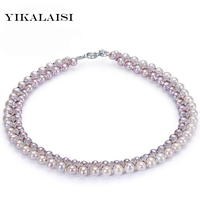 YIKALAISI 2017 Necklace 5 6mm/7 8mm Pearl Jewelry 100% Natural Freshwater Pearl Real Silver Jewelry For Women girls Best Gifts
